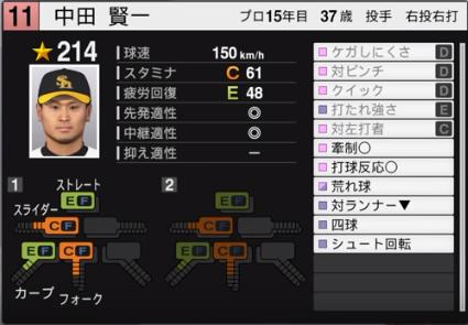 中田賢一_ソフトバンクホークス_プロスピ能力データ_2019年シーズン終了時