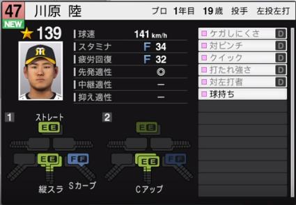 川原_阪神タイガース_プロスピ能力データ_2019年シーズン終了時