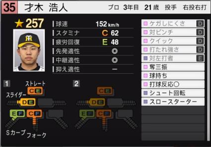 才木_阪神タイガース_プロスピ能力データ_2019年シーズン終了時
