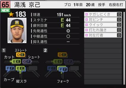 湯浅_阪神タイガース_プロスピ能力データ_2019年シーズン終了時