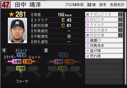 田中靖_千葉ロッテマリーンズ_プロスピ能力データ_2019年シーズン終了時