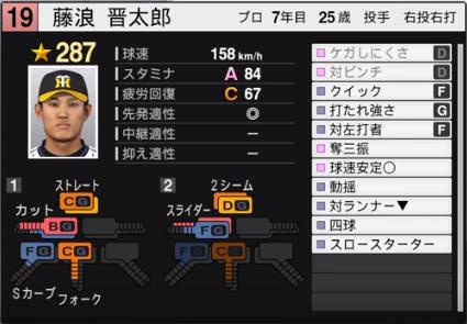 藤浪_阪神タイガース_プロスピ能力データ_2019年シーズン終了時