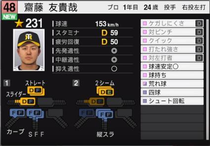 齋藤_阪神タイガース_プロスピ能力データ_2019年シーズン終了時