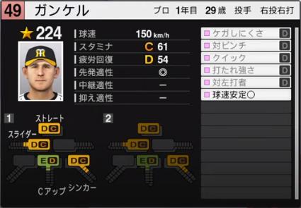 ガンケル_阪神タイガース_プロスピ能力データ_2020年開幕版