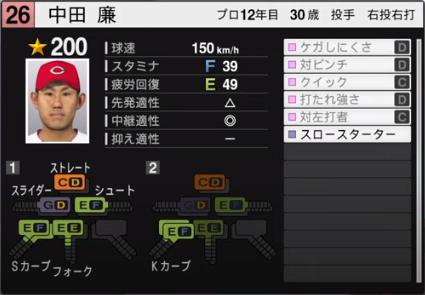 中田廉_広島カープ_プロスピ能力データ_2020年開幕版