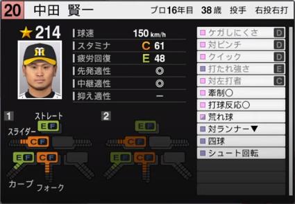 中田賢一_阪神タイガース_プロスピ能力データ_2020年開幕版