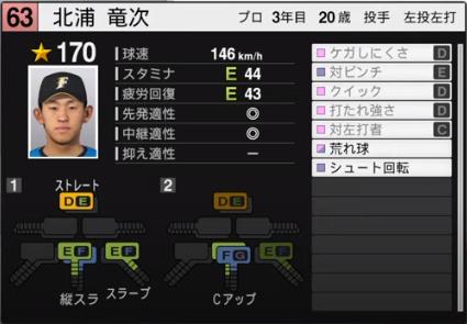 北浦竜次_日本ハムファイターズ_プロスピ能力データ_2020年開幕版