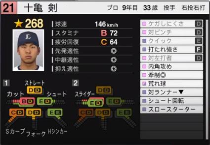 十亀剣_西武ライオンズ_プロスピ能力データ_2020年開幕版