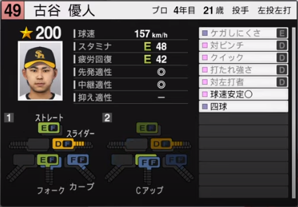 古谷優人_ソフトバンクホークス_プロスピ能力データ_2020年開幕版