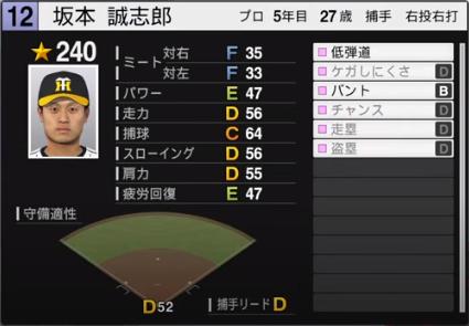 坂本誠志郎_阪神タイガース_プロスピ能力データ_2020年開幕版