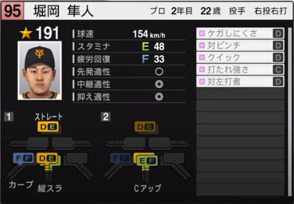 堀岡_巨人_プロスピ能力データ_2020年開幕版