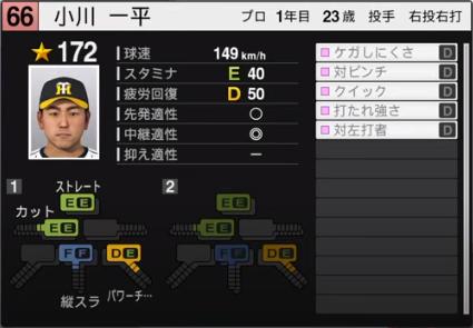 小川一平_阪神タイガース_ルーキー_プロスピ能力データ_2020年開幕版