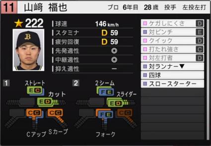 山崎福也_オリックスバファローズ_プロスピ能力データ_2020年開幕版