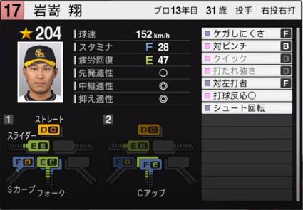 岩嵜翔_ソフトバンクホークス_プロスピ能力データ_2020年開幕版