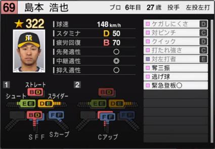 島本浩也_阪神タイガース_プロスピ能力データ_2020年開幕版