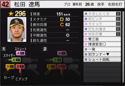 松田遼馬_ソフトバンクホークス_プロスピ能力データ_2020年開幕版