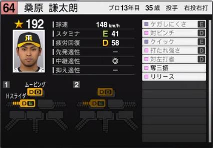 桑原謙太郎_阪神タイガース_プロスピ能力データ_2020年開幕版