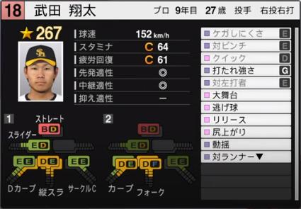 武田翔太_ソフトバンクホークス_プロスピ能力データ_2020年開幕版