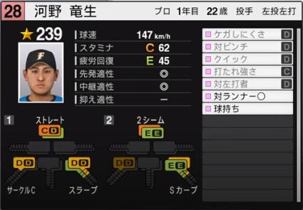 河野竜生_日本ハムファイターズ_ルーキー_プロスピ能力データ_2020年開幕版