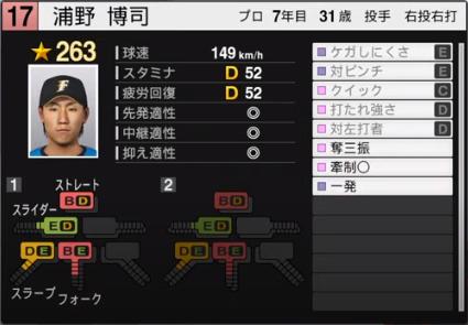 浦野博司_日本ハムファイターズ_プロスピ能力データ_2020年開幕版