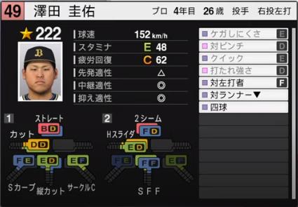 澤田圭佑_オリックスバファローズ_プロスピ能力データ_2020年開幕版
