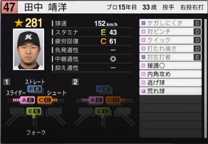 田中靖洋_千葉ロッテマリーンズ_プロスピ能力データ_2020年開幕版