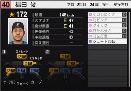 福田俊_日本ハムファイターズ_プロスピ能力データ_2020年開幕版