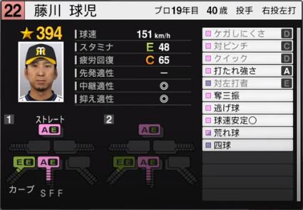 藤川球児_阪神タイガース_プロスピ能力データ_2020年開幕版