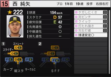 西純矢_阪神タイガース_ルーキー_プロスピ能力データ_2020年開幕版