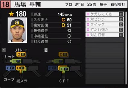 馬場皐輔_阪神タイガース_プロスピ能力データ_2020年開幕版