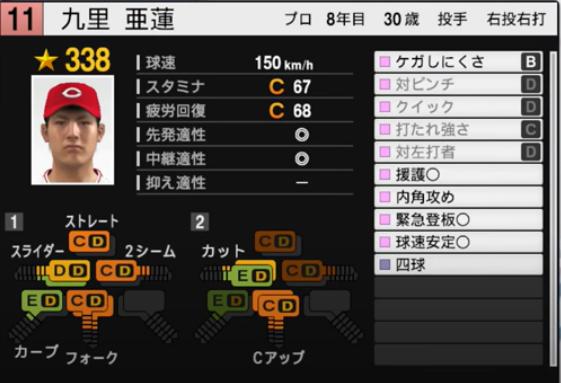 九里亜蓮_広島カープ_プロスピ能力データ_2021年開幕版_7月8日