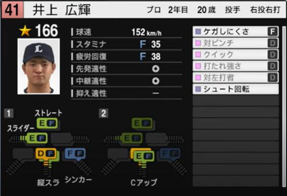 井上広輝_西武ライオンズ_プロスピ能力データ_2021年開幕版_7月8日
