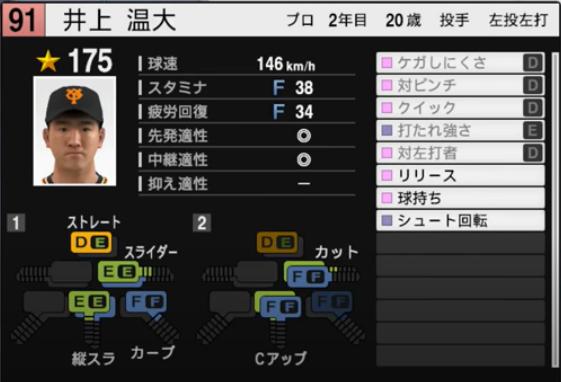 井上温大_巨人_プロスピ能力データ_2021年開幕版_7月8日