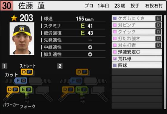 佐藤蓮_阪神タイガース_プロスピ能力データ_2021年開幕版_7月8日