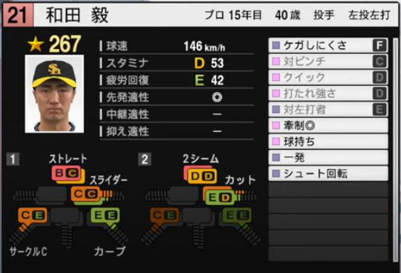 和田毅_ソフトバンクホークス_プロスピ能力データ_2021年開幕版_7月8日