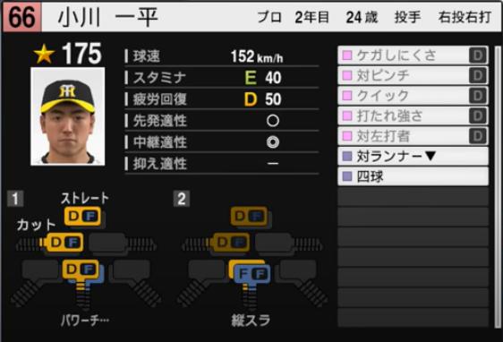 小川一平_阪神タイガース_プロスピ能力データ_2021年開幕版_7月8日
