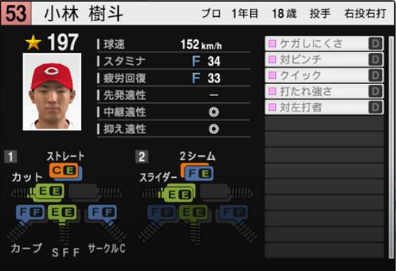 小林樹斗_広島カープ_プロスピ能力データ_2021年開幕版_7月8日