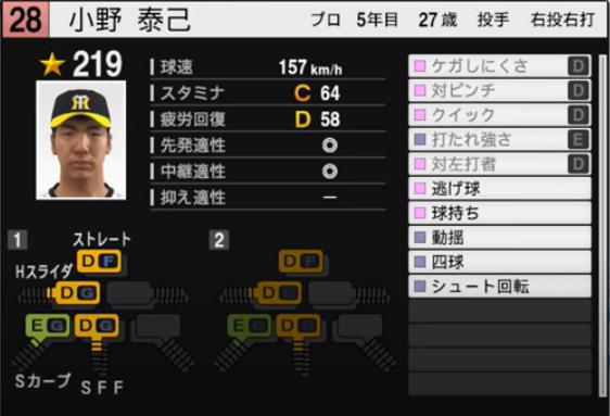 小野泰己_阪神タイガース_プロスピ能力データ_2021年開幕版_7月8日
