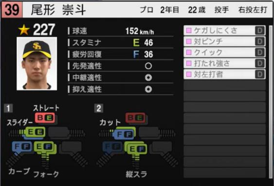 尾形崇斗_ソフトバンクホークス_プロスピ能力データ_2021年開幕版_7月8日