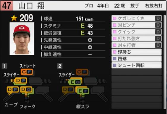 山口翔_広島カープ_プロスピ能力データ_2021年開幕版_7月8日