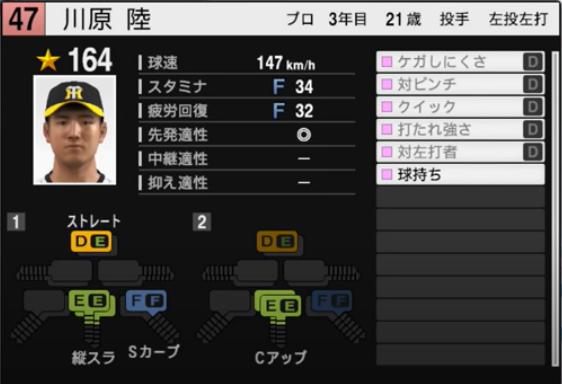 川原陸_阪神タイガース_プロスピ能力データ_2021年開幕版_7月8日
