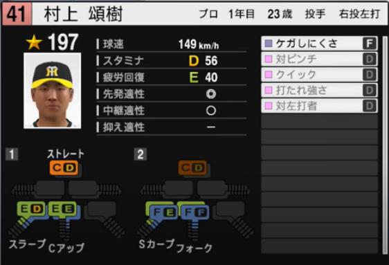 村上頌樹_阪神タイガース_プロスピ能力データ_2021年開幕版_7月8日
