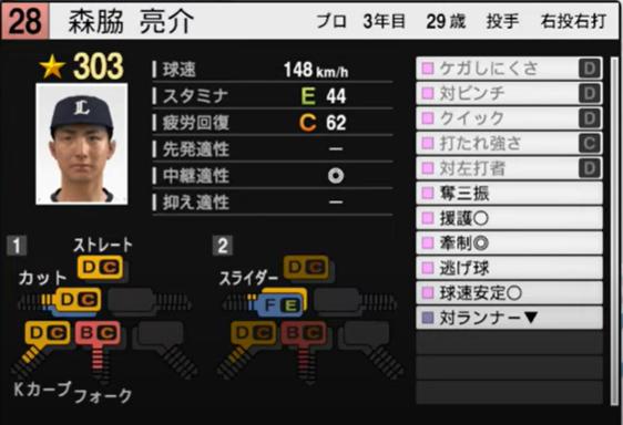森脇亮介_西武ライオンズ_プロスピ能力データ_2021年開幕版_7月8日