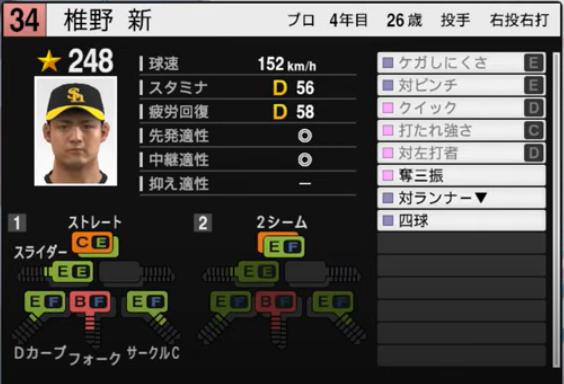 椎野新_ソフトバンクホークス_プロスピ能力データ_2021年開幕版_7月8日
