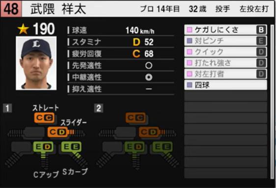 武隈翔太_西武ライオンズ_プロスピ能力データ_2021年開幕版_7月8日
