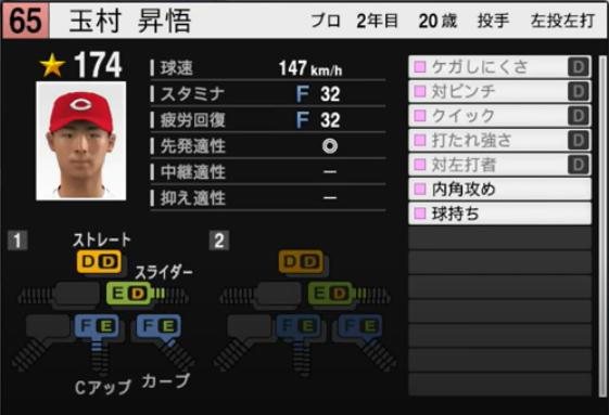 玉村昇悟_広島カープ_プロスピ能力データ_2021年開幕版_7月8日