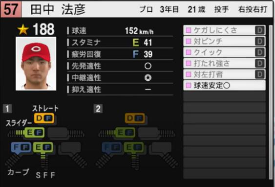 田中法彦_広島カープ_プロスピ能力データ_2021年開幕版_7月8日