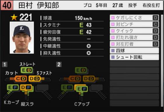 田村伊知郎_西武ライオンズ_プロスピ能力データ_2021年開幕版_7月8日