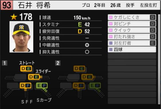 石井将希_阪神タイガース_プロスピ能力データ_2021年開幕版_7月8日