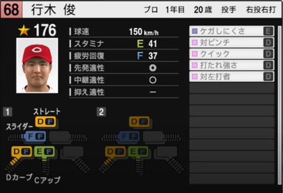 行木俊_広島カープ_プロスピ能力データ_2021年開幕版_7月8日